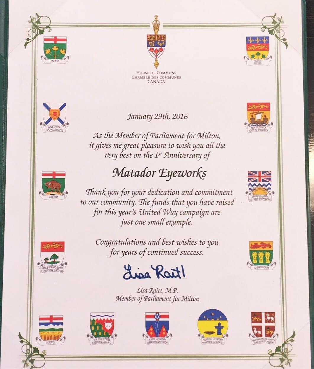 United Way Milton certificate by Lisa Raitt