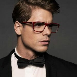 Mens gold and wood eyeglasses with Hermes silk