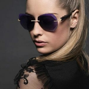 Gold and wood rimless sunglasses