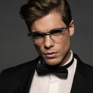 Gold and wood eyeglasses for men