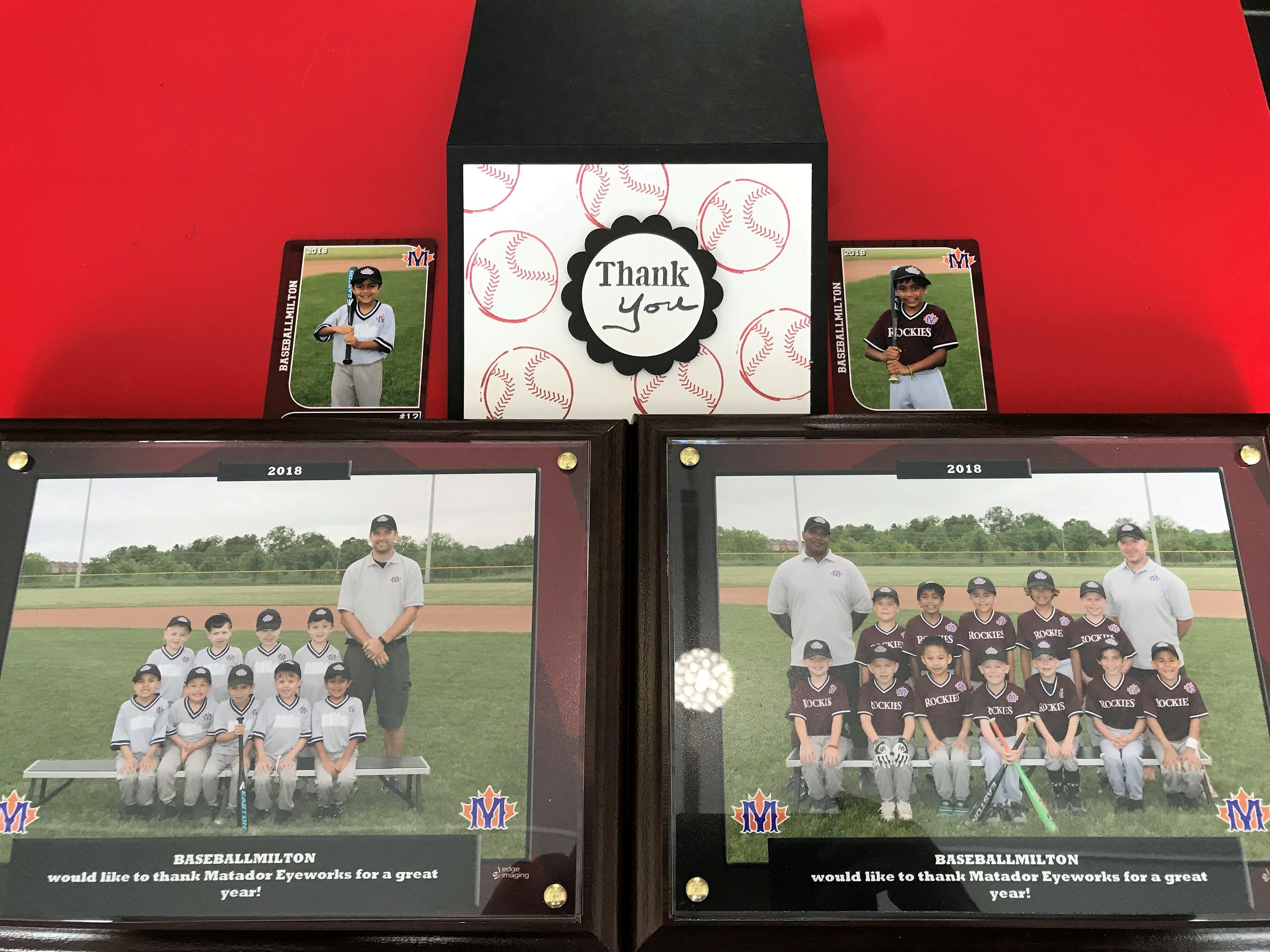 Milton baseball sponsorship photos from a happy parent.