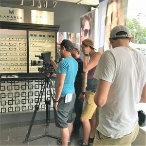 Filming for a Condo commercial at Matador Eyeworks Optical boutique.